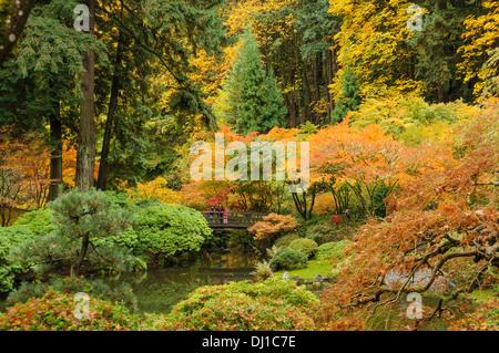 Portland Japanese Garden in autumn; Portland, Oregon. - Stock Photo