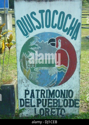 A sign at the entrance to the Quistacocha zoological park near Iquitos, in the Peruvian Amazon - Stock Photo