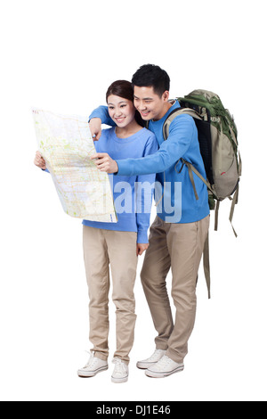 Portrait of young couple  travelling - Stock Photo