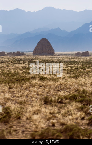 Xixia Imperial Tombs, Helan mountains, scenery in China - Stock Photo