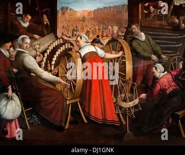 The spinning cutting of the warp and weaving 1594 Wool Industry Leiden Isaac Claesz van Swanenburg Dutch Netherlands - Stock Photo