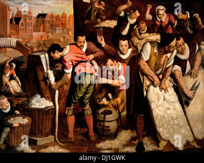 The ploating and combing 1594 Wool Industry Leiden Isaac Claesz van Swanenburg Dutch Netherlands - Stock Photo