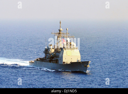 US Navy guided-missile cruiser USS Monterey November 1, 2013 operating in the Mediterranean Sea. - Stock Photo
