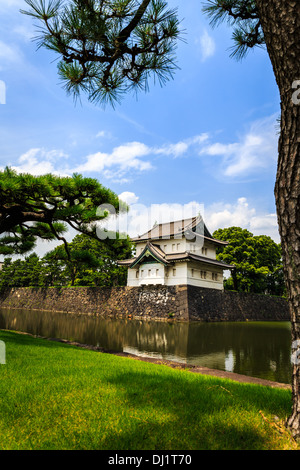 A view of guard tower near East Gate to the Tokyo Imperial Palace, Tokyo, Japan - Stock Photo