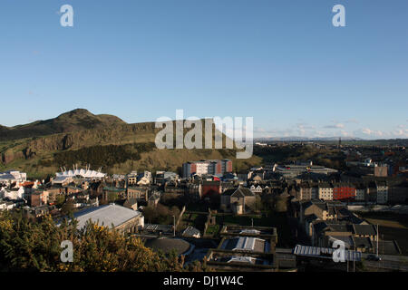 Scotland: View on Edinburgh with Salisbury Crags as seen from Calton Hill - Stock Photo