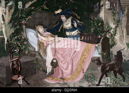 The Sleeping Beauty. The miracle of love. Engraving in The Iberian Illustration, 1885. Colored. - Stock Photo