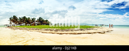 Panoramic view of Îlet Caret (Caret Islet), small island in the Grand Cul-de-Sac Marin, Guadeloupe - Stock Photo
