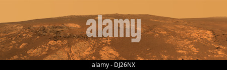 A wide panoramic landscape of the surface of Mars taken by the Mars Rover. - Stock Photo