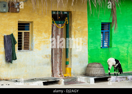 Old Rural Indian village houses. Andhra Pradesh. India