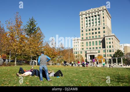 Pack Square Park, Asheville, North Carolina, USA - Stock Photo