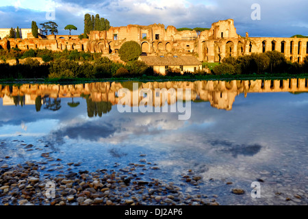 Reflection of the ruins of the Domus Augustana on Palatine Hill, Rome Italy - Stock Photo