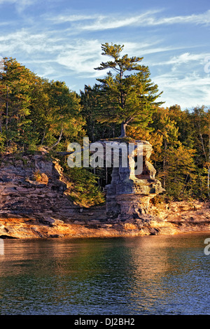 Large pine tree grows atop Chapel Rock along Lake Superior in Pictured Rocks National Lakeshore and Michigan's Upper - Stock Photo
