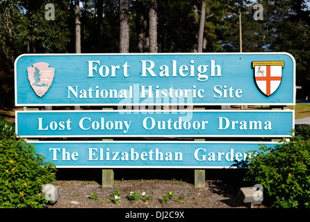 Entrance sign to Fort Raleigh National Historic Site, Roanoke Island, North Carolina, USA - Stock Photo