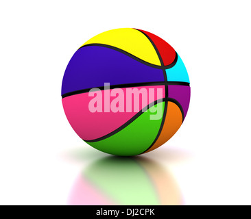 Colorful basketball on white background (Computer generated image) - Stock Photo