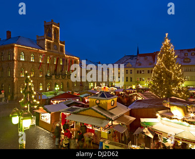 Christmas market in Weimar, Thuringia, Germany - Stock Photo