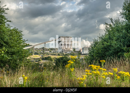Industrial plant Brunner Mond in rural landscape, Northwich Cheshire. - Stock Photo