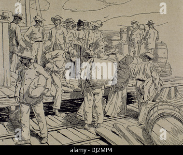 Cuban War of Independence (1895-1898). Rebels appeal for a pardon. Engraving. - Stock Photo
