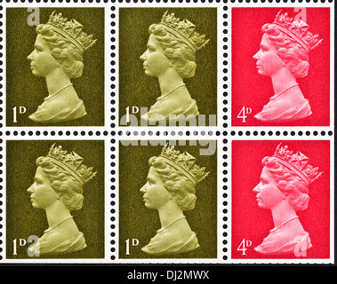 Queen Elizabeth II postage stamp UK 1d & 4d definitive issue from book of stamps dated 1969 - Stock Photo