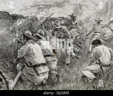 Cuban War of Independence (1895-1898). Rebels at a roadblock,1898. Engraving. - Stock Photo