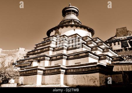 Tsuklahang Temple Gyantse Tibet China sepia - Stock Photo