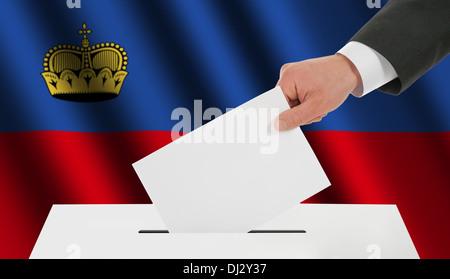The Liechtenstein flag - Stock Photo