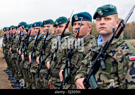 A Polish army honor guard stands in formation during a ceremony October 27, 2013 in Drawsko Pomorskie, Poland. - Stock Photo