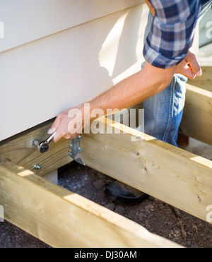 Carpenter's Hand Tightening Bolt With Wrench - Stock Photo