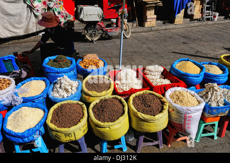 on market stall in Lhasa Tibet - Stock Photo