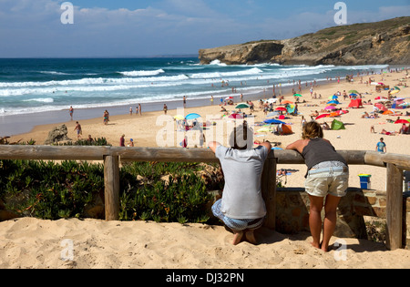 Looking over the beach at Monte Clerigo, Aljezur. Western Algarve, Portugal. On route of Rota Vicentina - Stock Photo