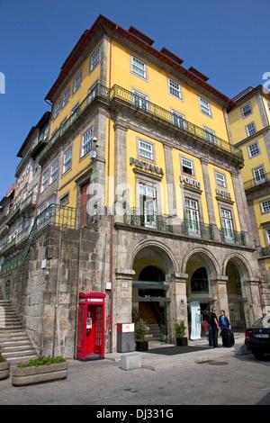 Pestana Porto Hotel in restored old riverside buildings, Praca Ribeira, Ribeira district, central Porto, Portugal - Stock Photo