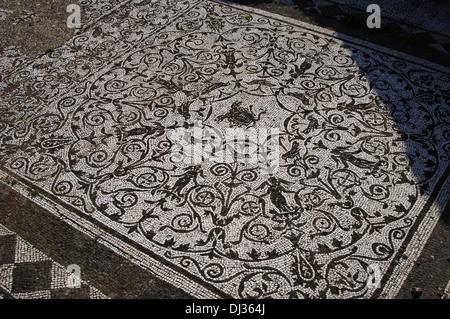 Italy. Ostia Antica. House of Bacchus and Ariadne. Floor mosaic. Medusa. - Stock Photo