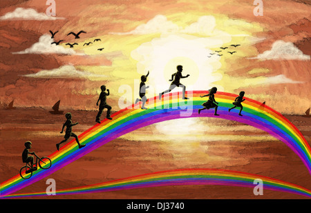 Illustration of kids running on rainbow representing fun - Stock Photo