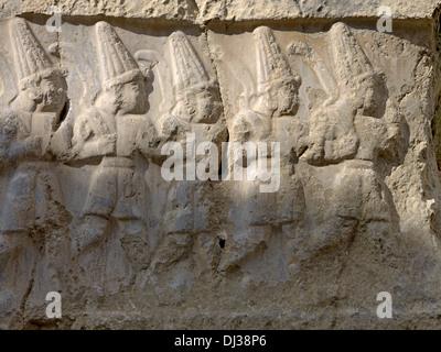 Twelve gods of the underworld, rock sanctuary of the Hittites, Turkey - Stock Photo