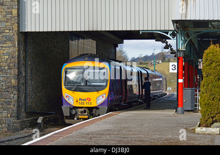 First Transpennine Express Class 185 train standing at Oxenholme Station, Cumbria, England, United Kingdom, Europe. - Stock Photo