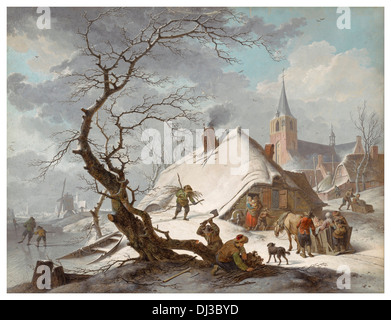 Watercolor by Hendrik Meyer of a fantasy perfect Dutch village in winter 1787 - Stock Photo