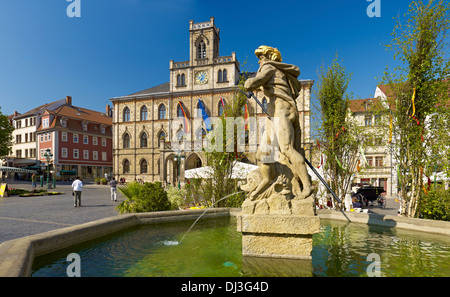 Market Square with Town Hall and Neptune Fountain, Weimar, Germany - Stock Photo