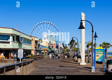 Myrtle Beach Boardwalk on a quiet out of season fall day, Myrtle Beach, South Carolina, USA - Stock Photo