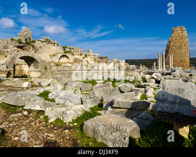 Nymphaeum and Hellenistic city gate, ancient city of Perga, Turkey - Stock Photo
