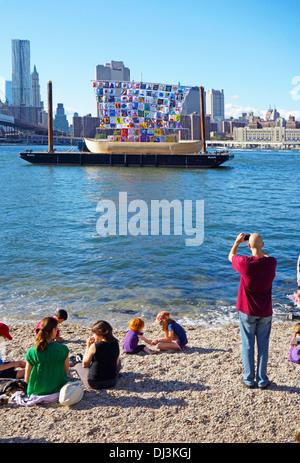 ship of tolerance sailing in Brooklyn - Stock Photo