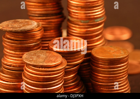 American pennies close up - Stock Photo