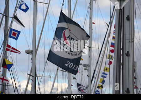 Gran Canaria, Canary Islands, Spain. 20th November 2013. Sailing yachts fly their signalling flags as a continuous - Stock Photo
