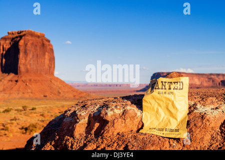 vintage wanted poster in Monument valley - Stock Photo