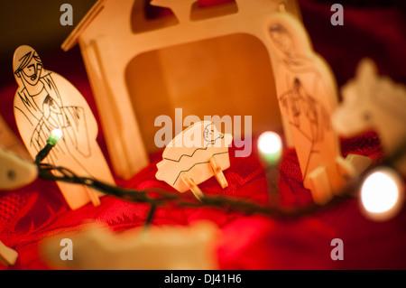 Wooden baby Jesus Christ nativity scene - Stock Photo