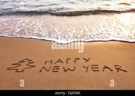 New Year background on the beach - Stock Photo