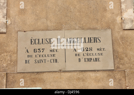 Sign on a Lock Keepers house giving details of the distance to the next locks Canal de Jonction Salleles D'Aude - Stock Photo
