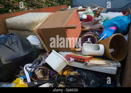 UK Skip full of household rubbish from a house clearance