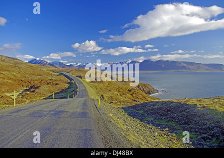lonely road in northern iceland - Stock Photo