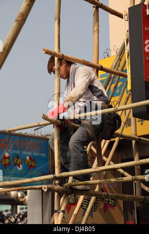 Scaffolding construction in Hong Kong, China - Stock Photo