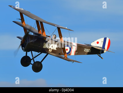 Sopwith Triplane,vintage RAF WW1 fighter plane from the Shuttleworth collection.October flying day 2013.Biggleswade - Stock Photo