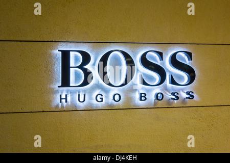 Boss Hugo Boss sign logo light lights lit up - Stock Photo